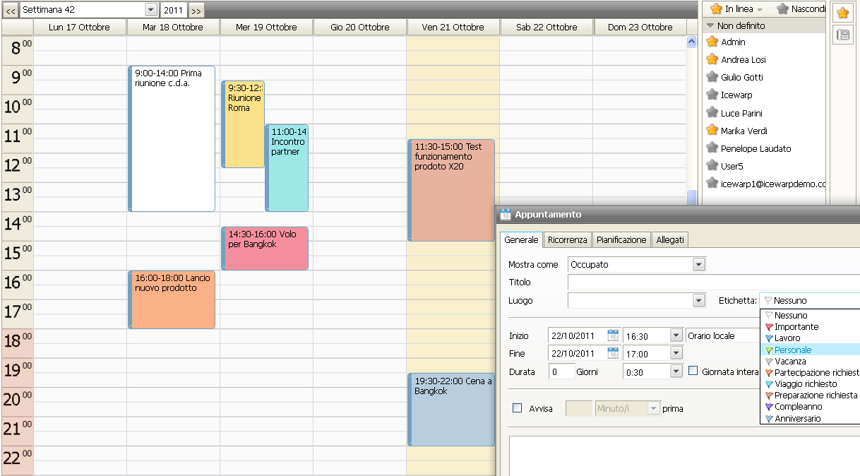 Calendario Aziendale Condiviso.Collaboration Software Groupware Shared Calendar
